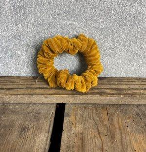 Scrunchie Mini Velours Rib Geel