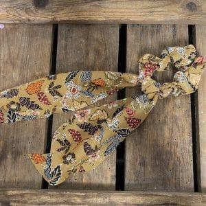 Scrunchie met lint Taupe met bloemenprint